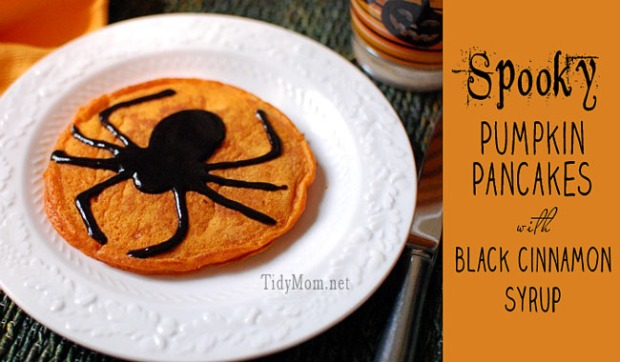 http://tidymom.net/2012/halloween-pumpkin-pancakes-with-black-cinnamon-syrup/
