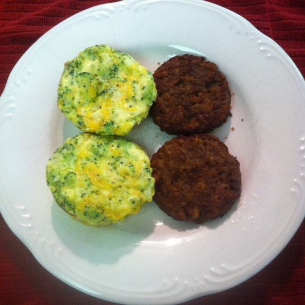 Two of my mini frittatas (still great one week later!) alongside two Morningstar veggie sausage patties