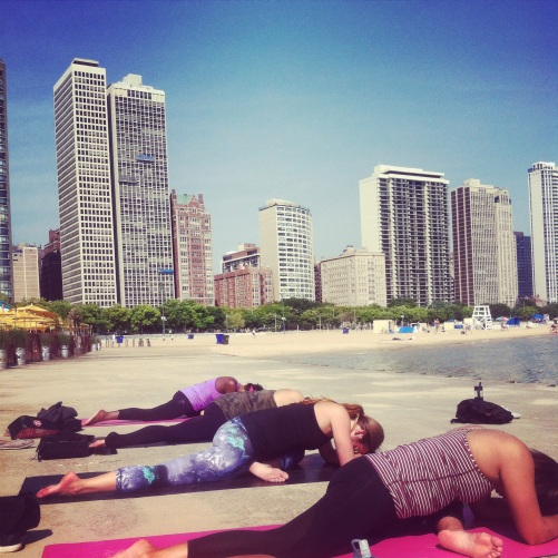 Yoga on the beach with my coworkers :)