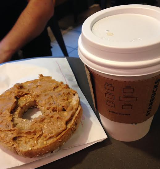 Whole grain bagel + pb and black coffee
