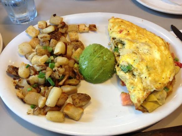 Veggie omelet with potatoes and avocado (sorry for the recycled photo but man it was a great cheese-less omelet)