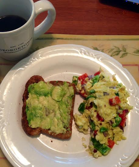Veggie scramble with a side of avocado/sea salt whole wheat toast + black coffee (tough to get used to again, to be honest)
