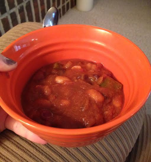 Homemade pumpkin chili (sans cheese!)