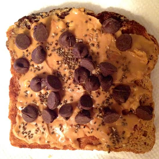 PB/chocolate chip toast + chia seeds