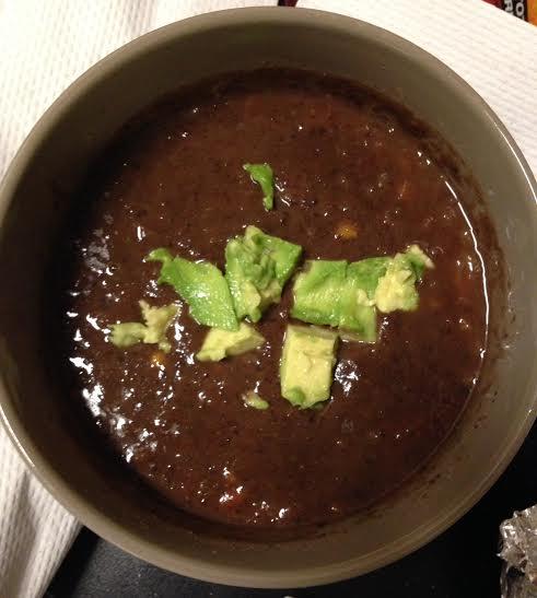 TJ's black bean soup + avocado + sea salt