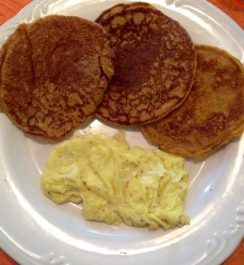 Kodiak cakes + scrambled eggs