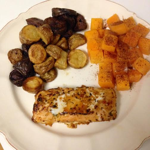BBQ salmon, roasted butternut squash with stevia and cinnamon, roasted potatoes