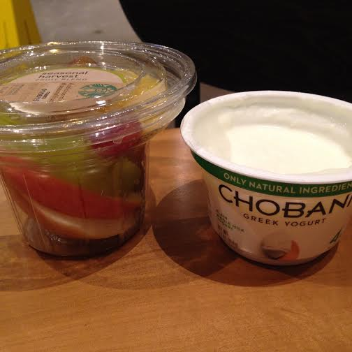 Greek yogurt and fruit gets me so full!